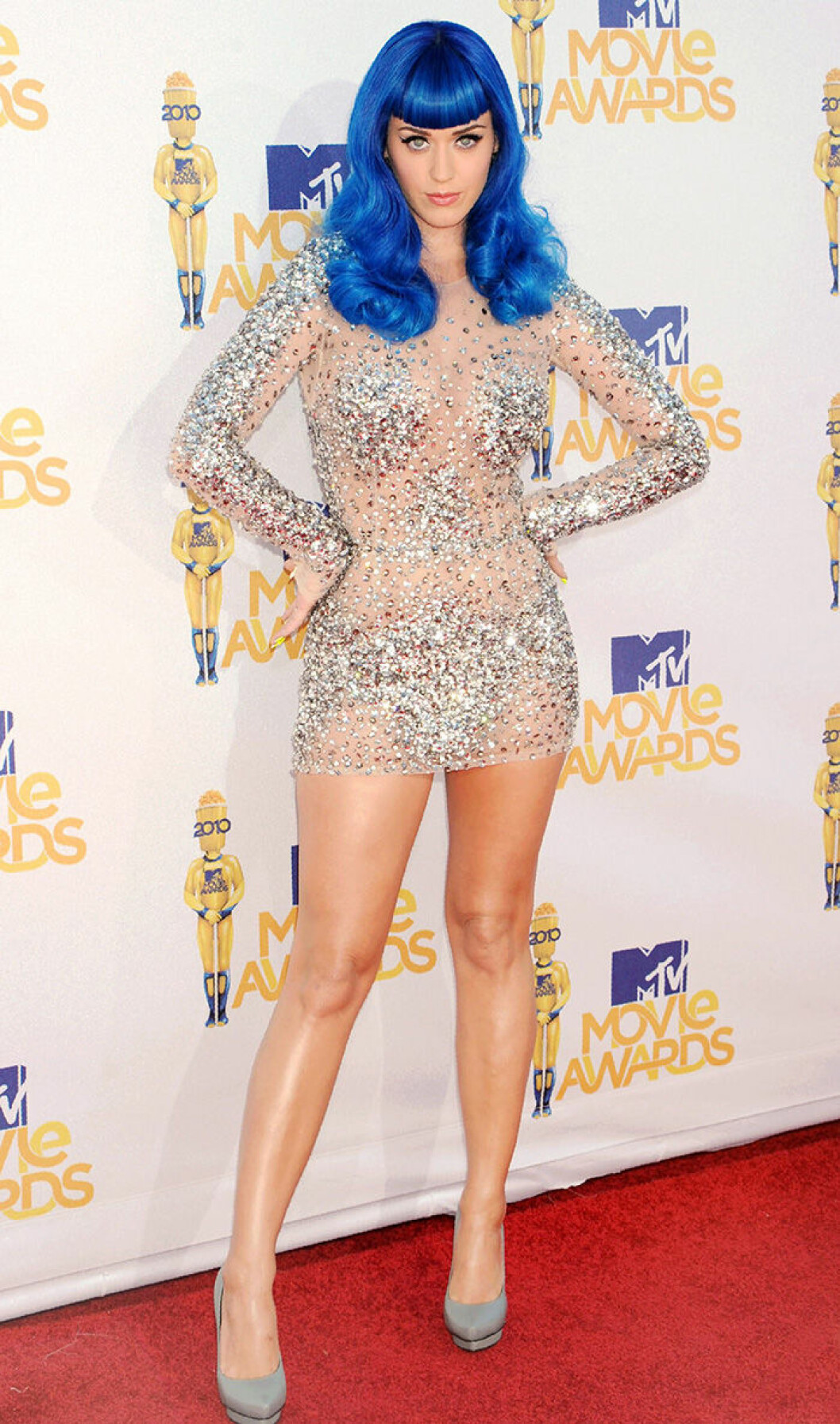 En bild på sångerskan Katy Perry på MTV Video Music Awards 2010.