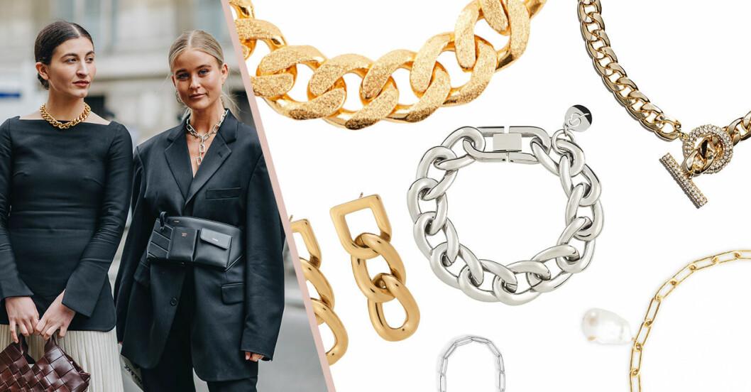 Smycken med kedjor – halsband, armband, örhängen