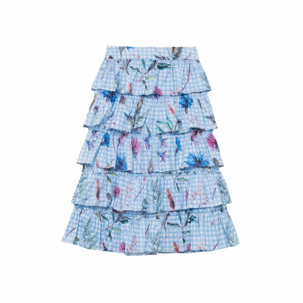 Blå kjol med volanger