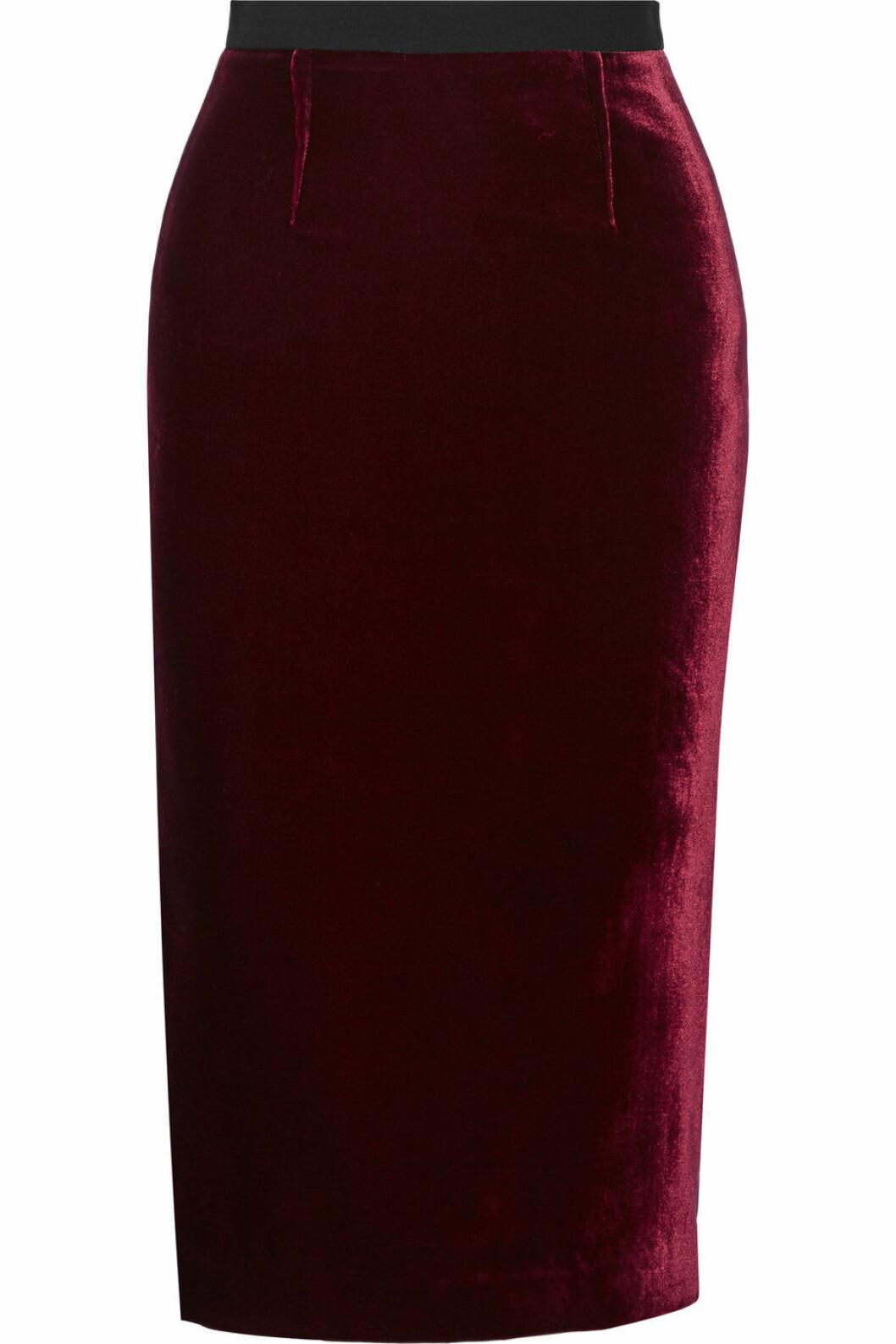 kjol sammet röd