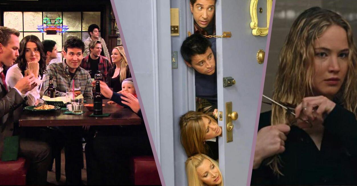 How I met your mother-gänget äter, Vänner kollar in genom dörr på rad och Jennifer Lawrence klipper av håret