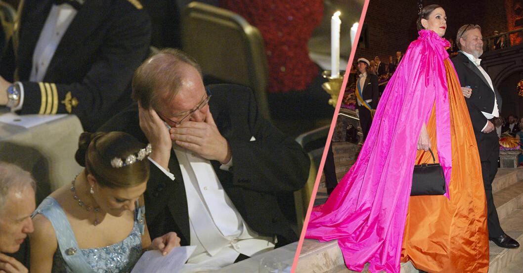 Kollage från tidigare års Nobelfester, Göran Persson talar i telefon intill kronprinsessan Victoria, och Sara Danius gör entré i sin magnifika klänning i rosa och orange