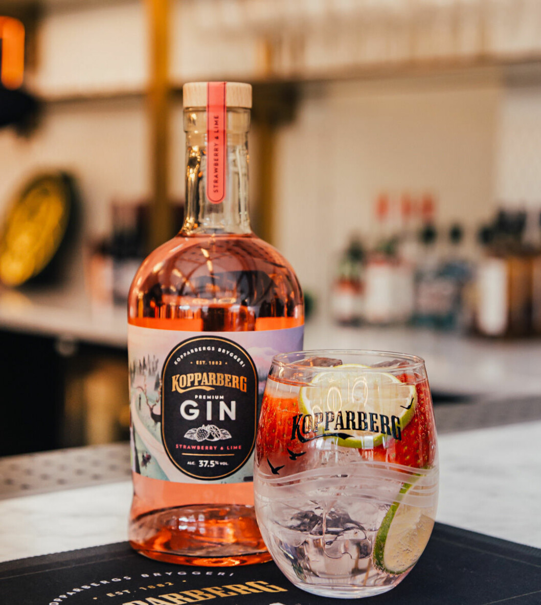Kopparbergs gin med jordgubb/limesmak