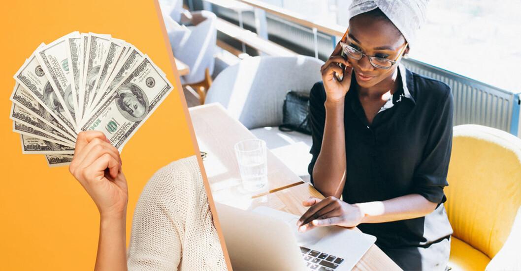 en hand med pengar i och en kvinna som pratar i telefon och har en dator framför sig