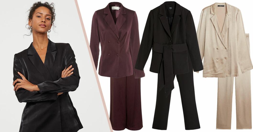 Kostymer för dam till fest –kavajer och matchande byxa