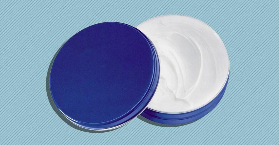 Blå burk med hudkräm