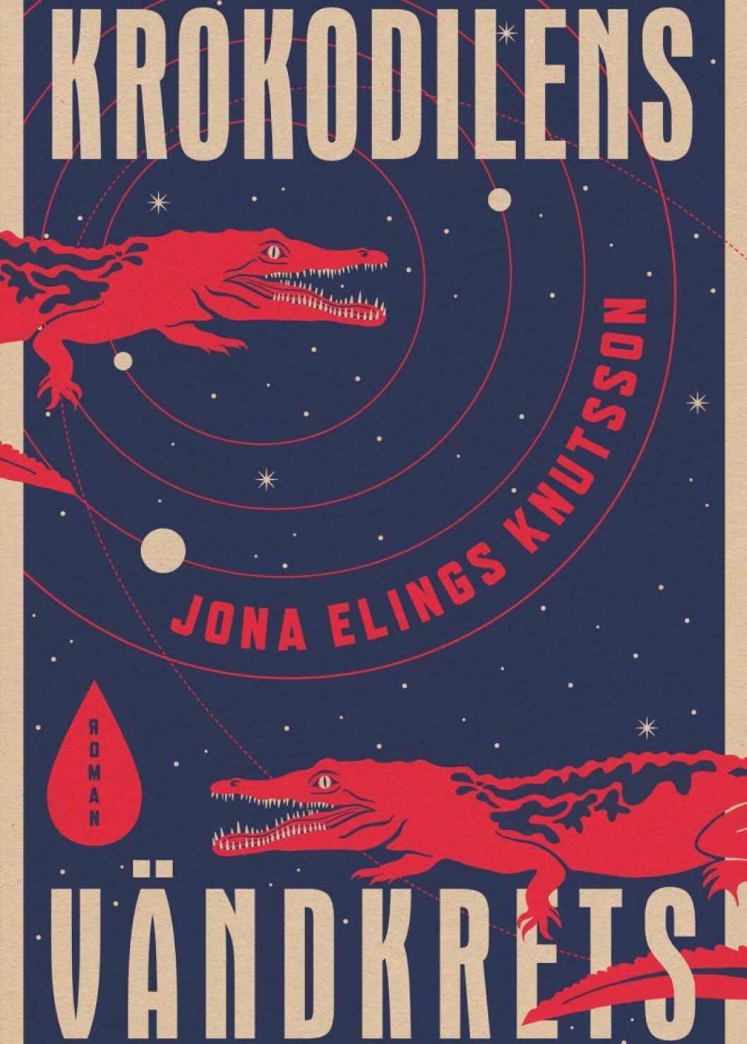 Bokomslag till Krokodilens vändkrets, två krokodiler tecknade krokodiler på omslaget.