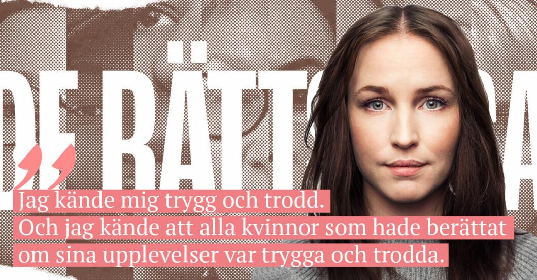 Krönikören Sofia Börjesson och ett citat om metoo-dokumentären De Rättslösa.