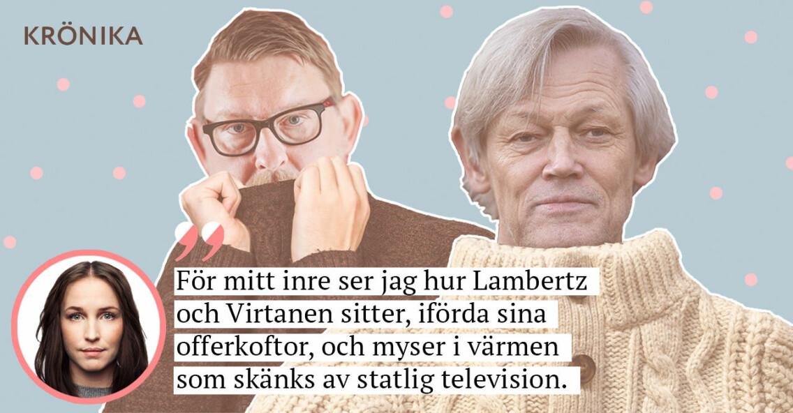 Göran Lambertz och Fredrik Virtanen i offerkoftor.