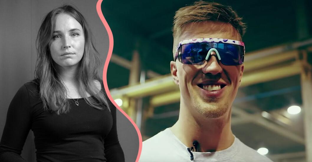 Journalisten Sofia Börjesson och skidåkaren Calle Halfvarsson.