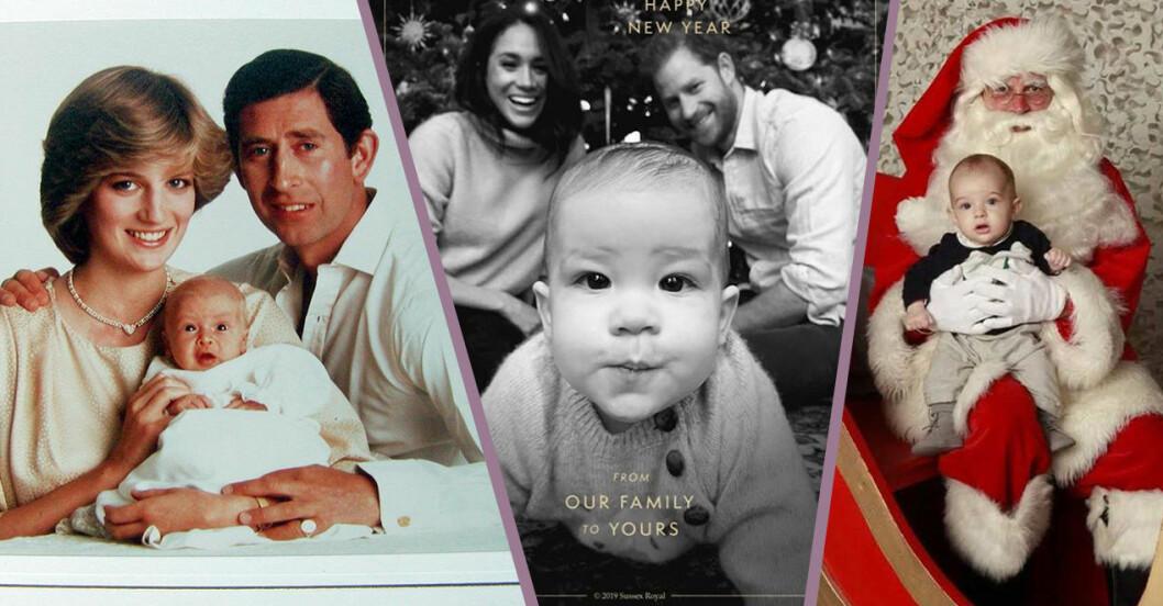 kollage av julkort från Diana och prins Charles, julkort från Harry och Meghan Markle med sonen Archie samt ett julkort på prins Nicolas som sitter i knät på en tomte