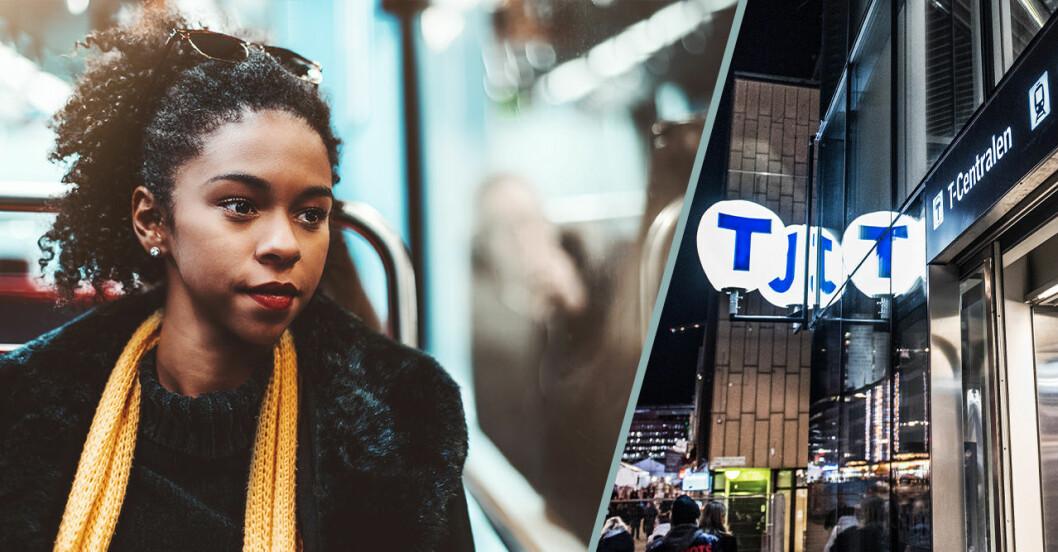 Kvinna sitter på Stockholm tunnelbana och är rädd för att bli trakasserad.