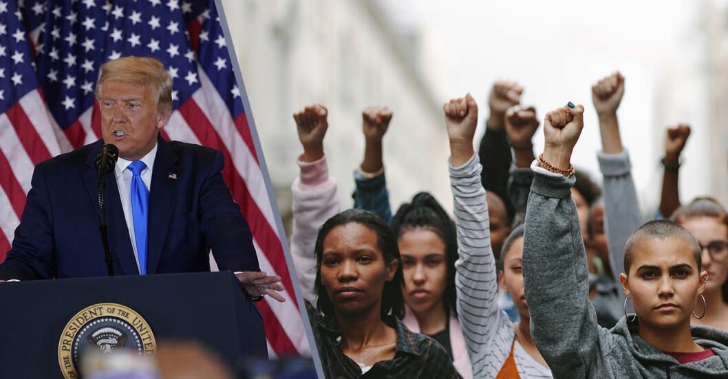 Trump i talarstolen och kvinnor som knyter sin näve i luften