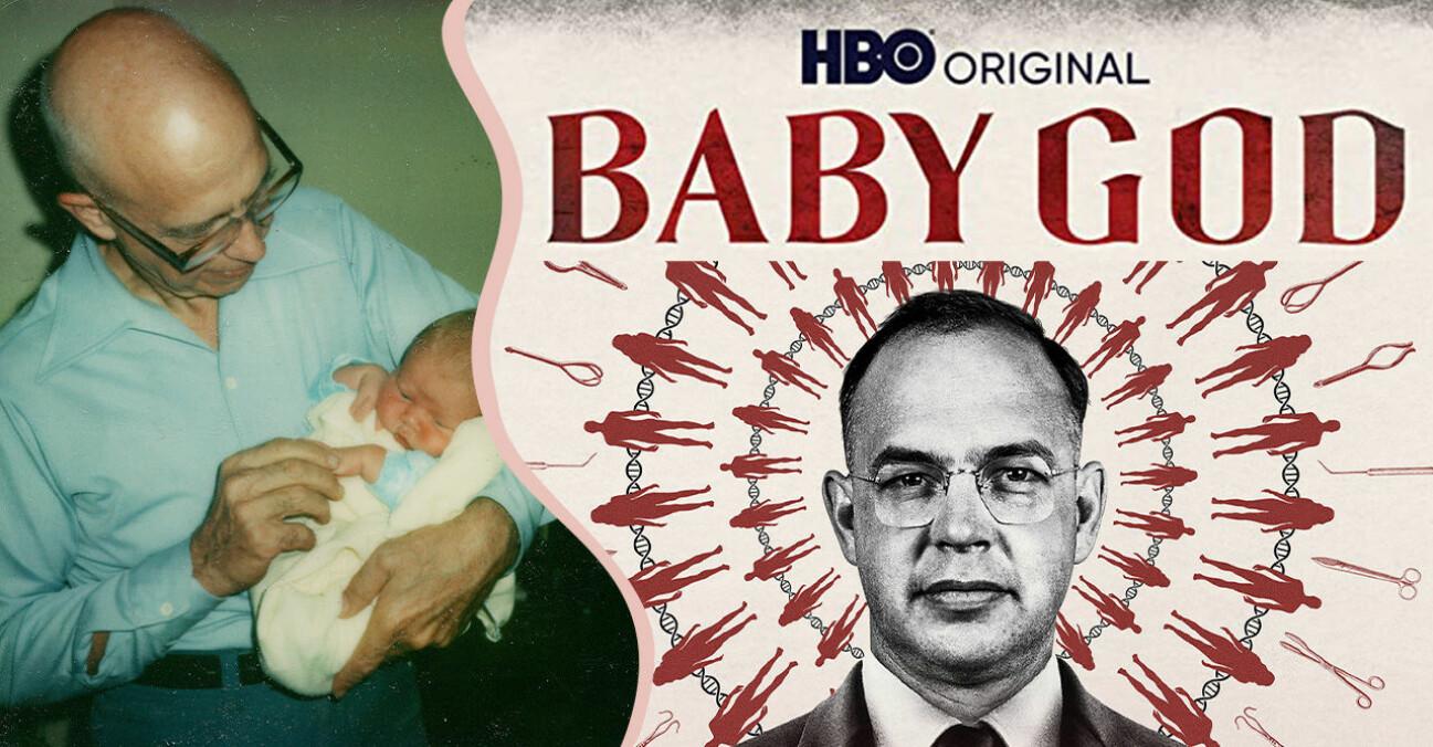 Läkaren Quincy Fortier med ett barn och omslaget på dokumentären Baby God på HBO.