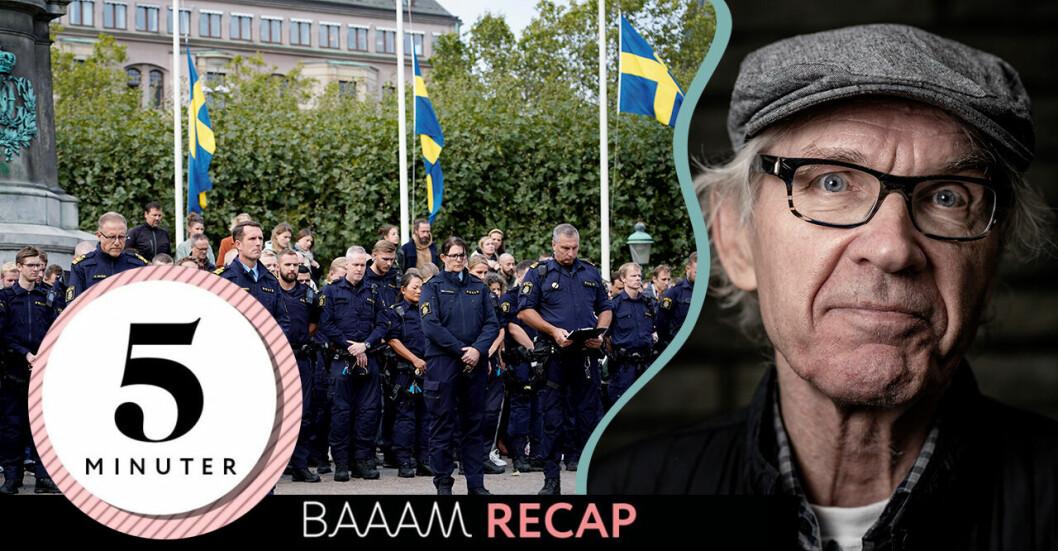 Den omkomne Lars Vilks och poliser som håller en tyst minut i Malmö.