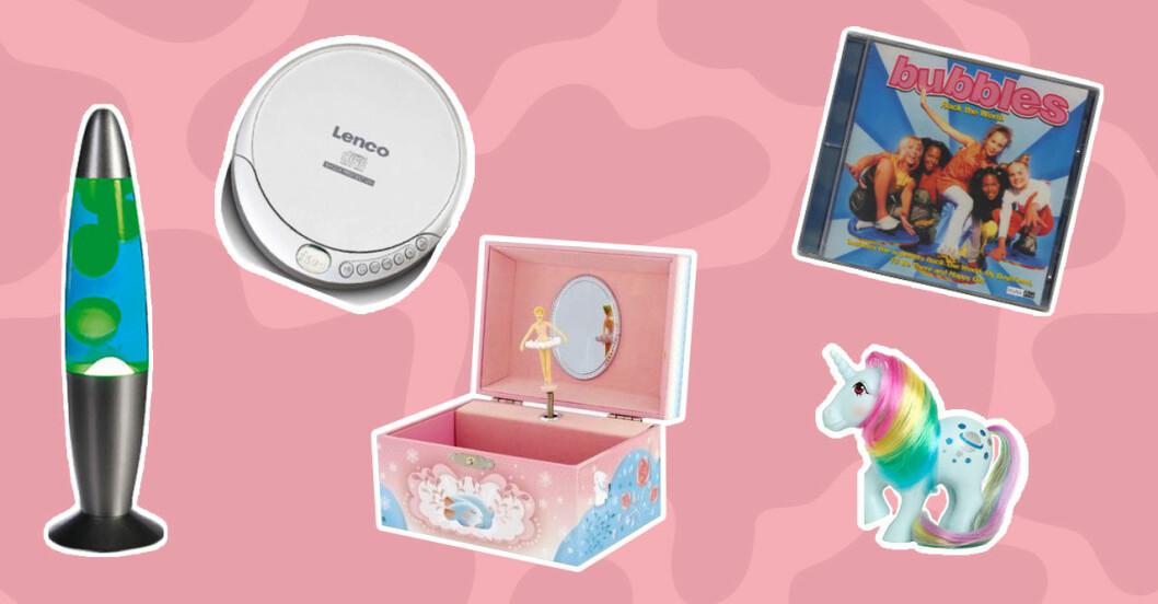 Kollage av lavalampa, bärbar-spelare, ballerina-speldosa, cd-skiva med Bubbles och en My little Pony. Allt mot en rosa bakgrund