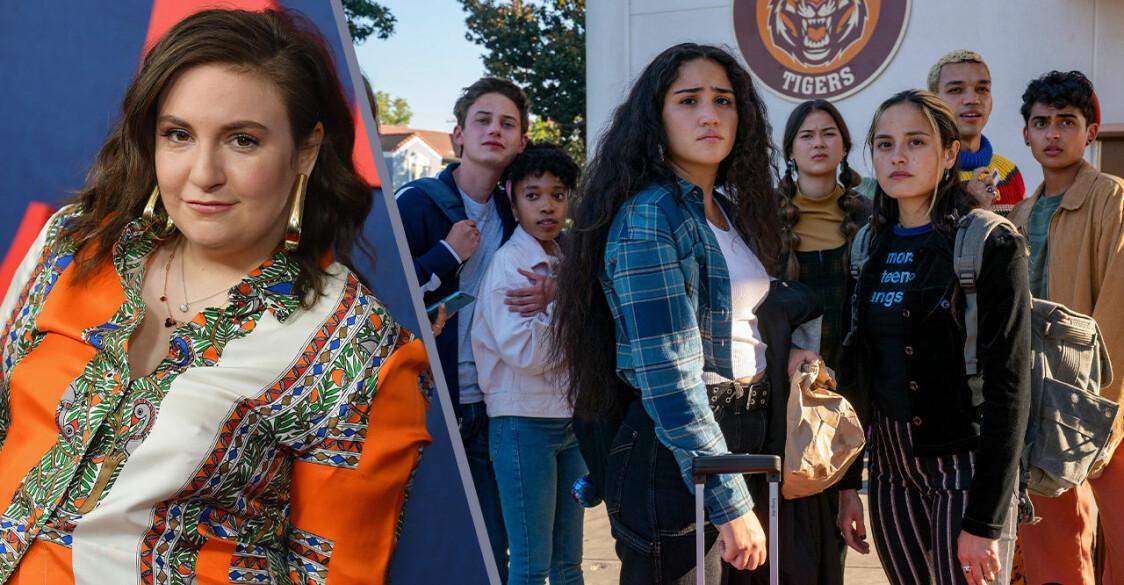 Lena Dunham och en bild på casten från Generation på HBO Max