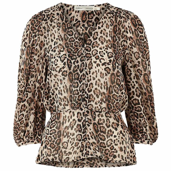 leopardmönstrad chiffongblus från in wear