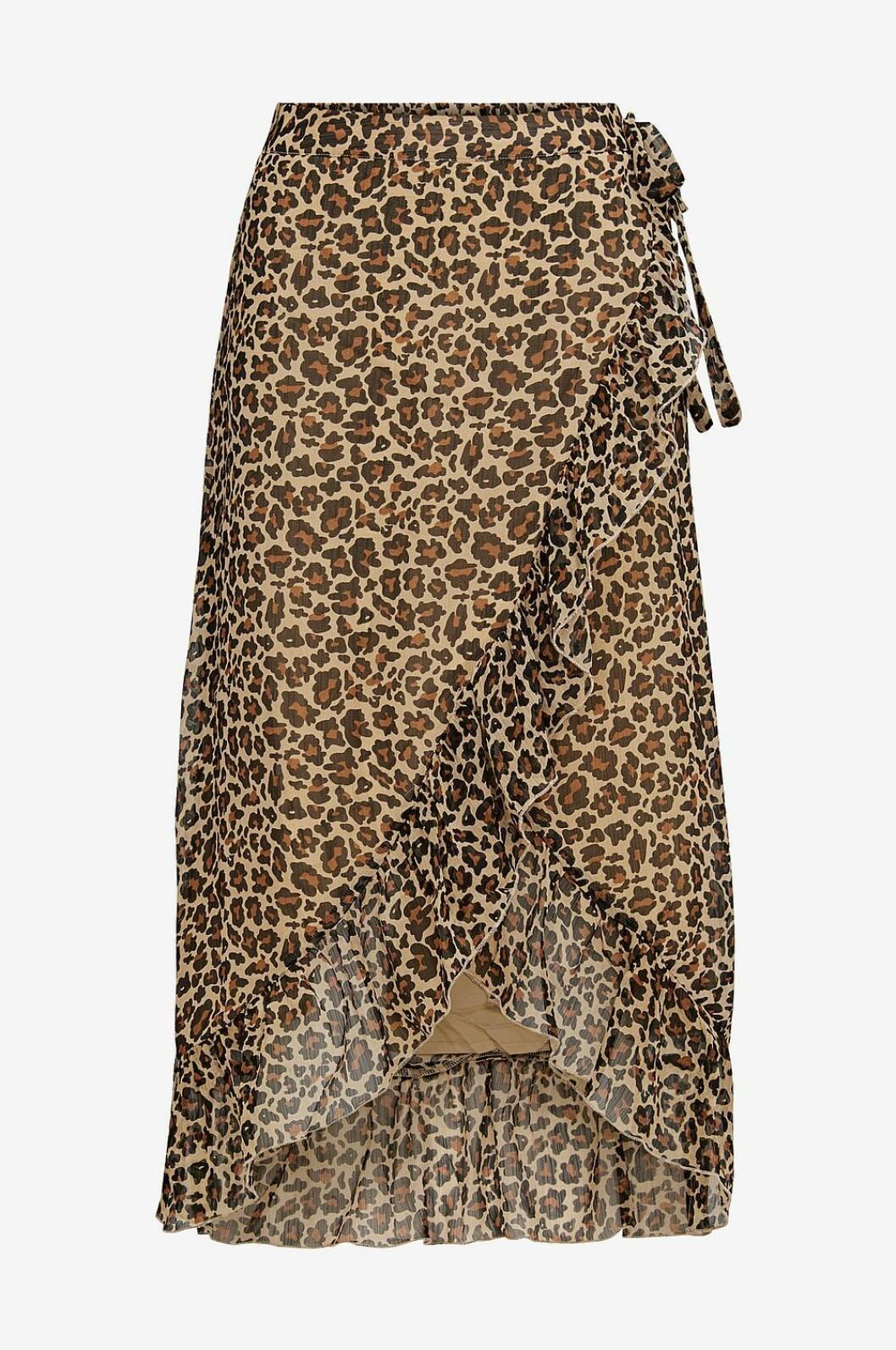 Leopardmönstrad kjol i omlottmodell för dam till 2019
