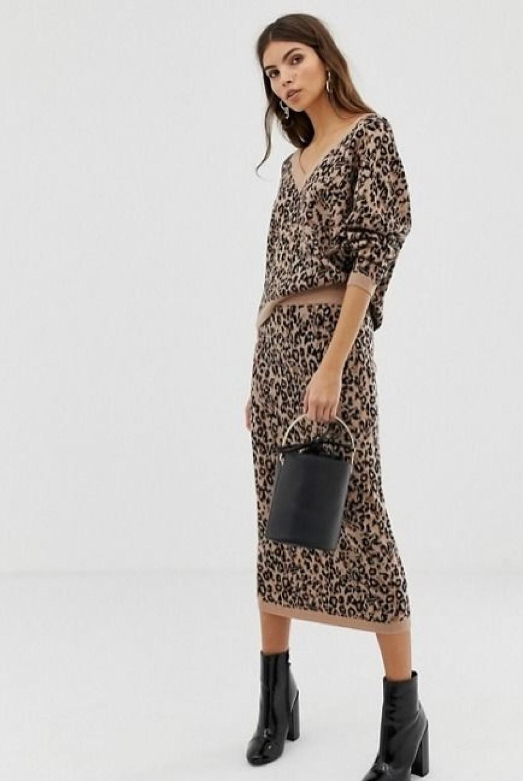 Leopardmönstrad stickad kjol för dam till hösten 2019