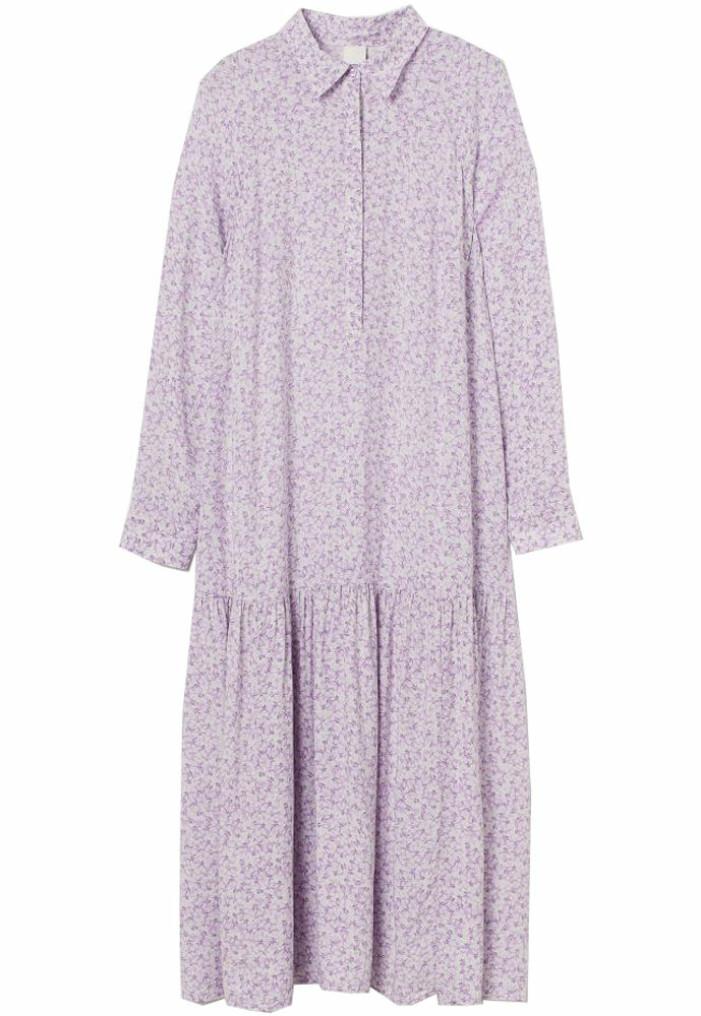 lila blommig skjortklänning från H&M