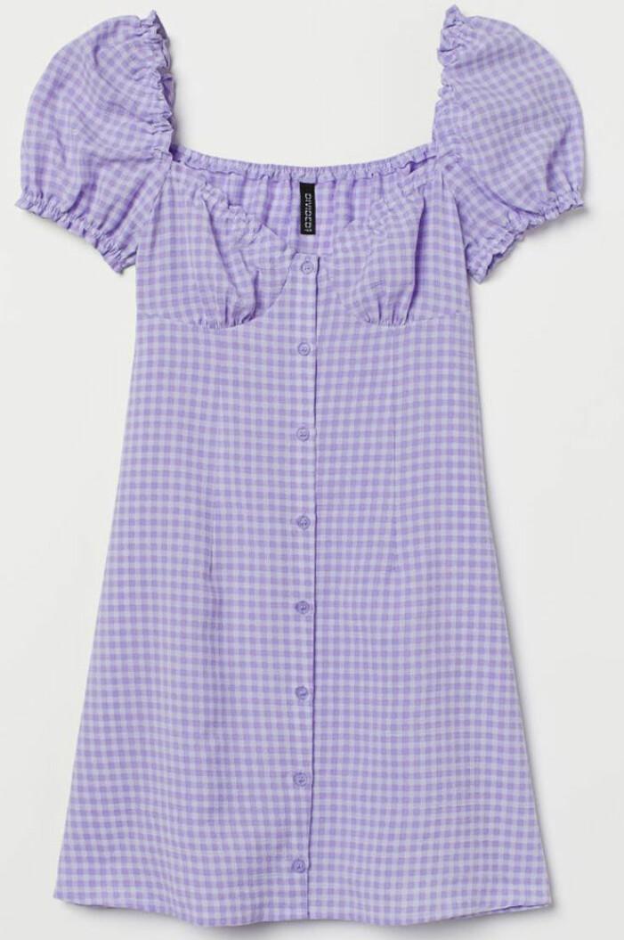 rutig lila klänning från H&M