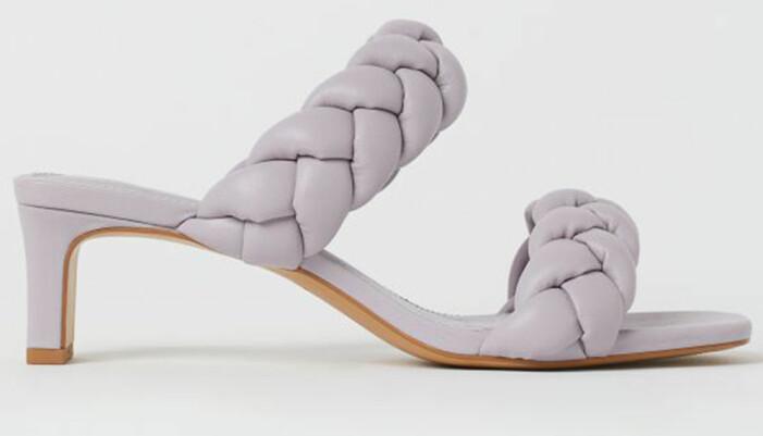 lila sandaletter med vävda vadderade remmar från H&M som påminner om Bottega Venetas sandaler
