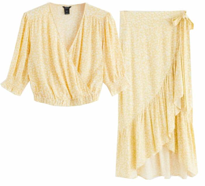 gult matchande set med topp och kjol från lindex