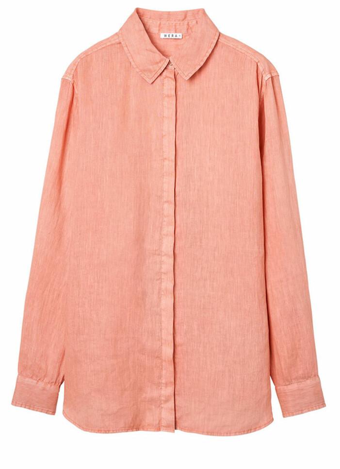 persikofärgad skjorta i linne från wera