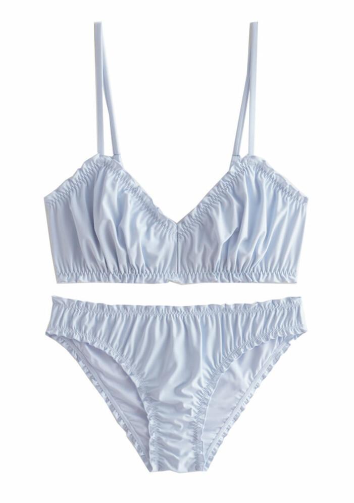ljusblå rynkad bikini