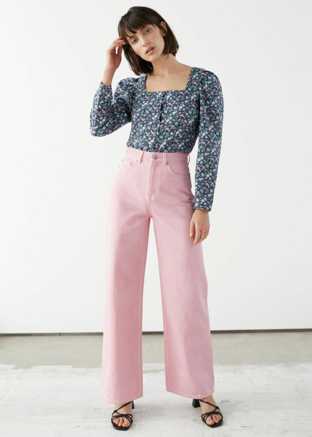 Ljusrosa jeans med hög midja till 2020