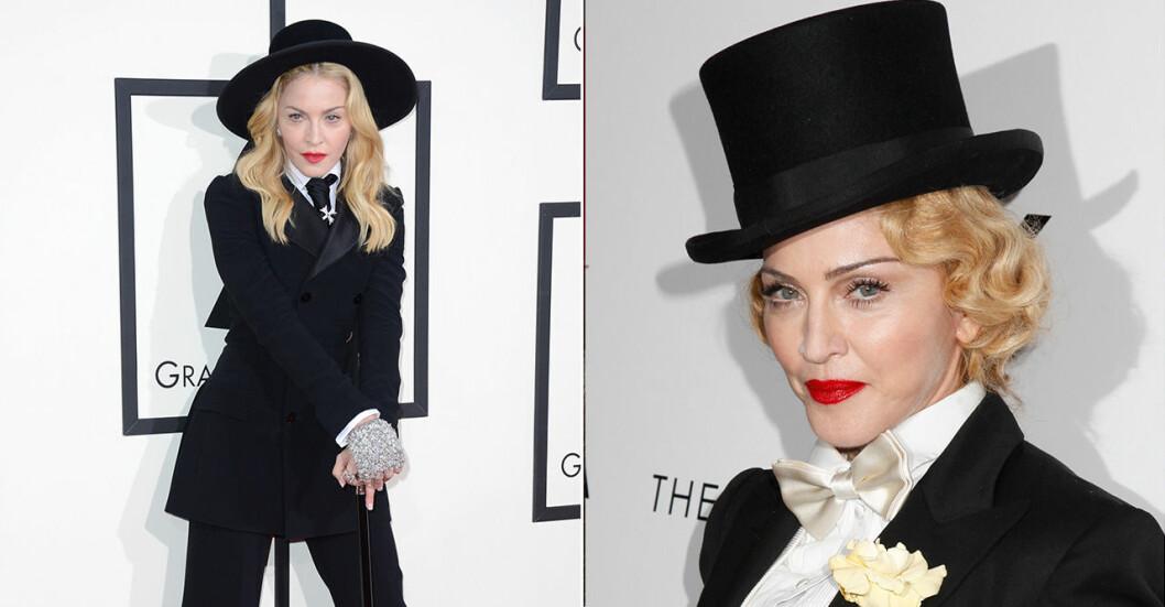 Madonna i kostym och hatt