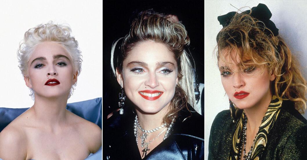 Madonna med röda läppar och buskiga bryn
