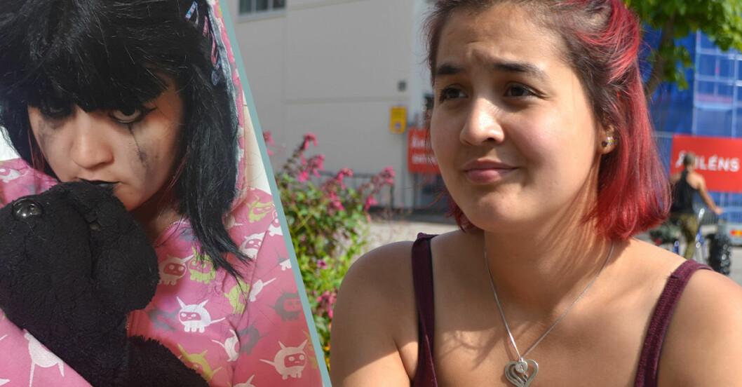 Till vänster: Magda som självmordsbenägen 13-åring.