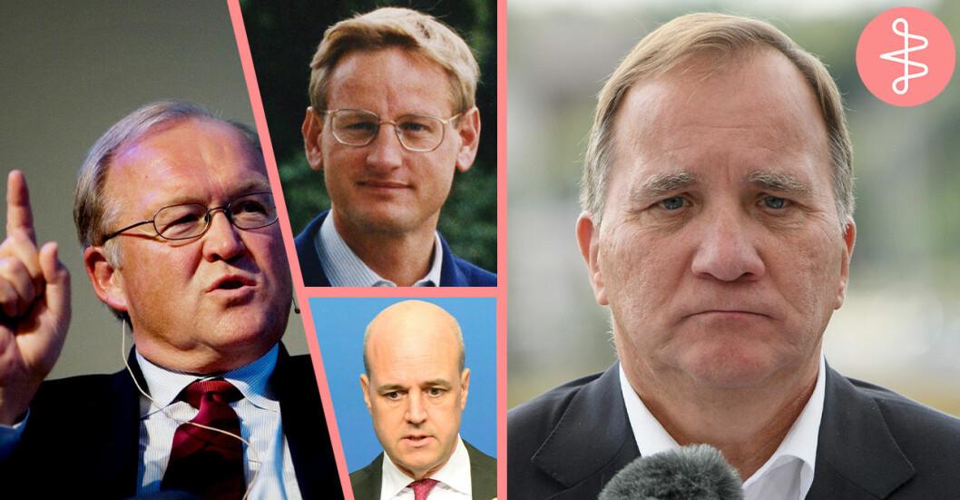Bara manliga statsministrar i Sverige: Göran Persson, Fredrik Reinfeldt, Carl Bildt, Stefan Löfven.