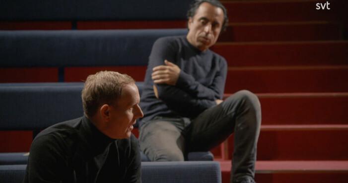 Özz Nujen och Måns Möller brainstormar manus med Soran Ismail i dokumentären Persona non grata.