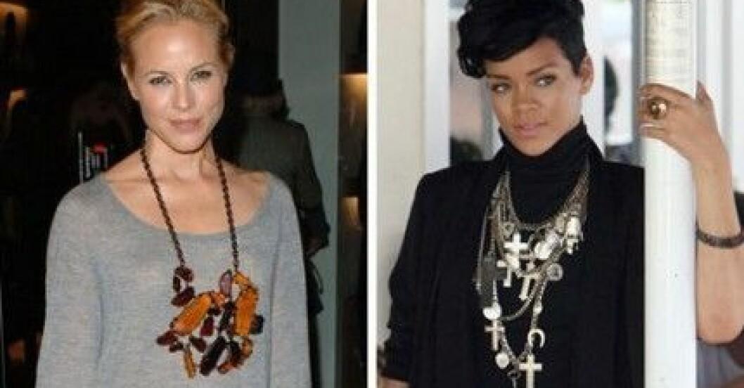 Maria Bello och Rihanna matchar sina statementhalsband med neutrala kläder.