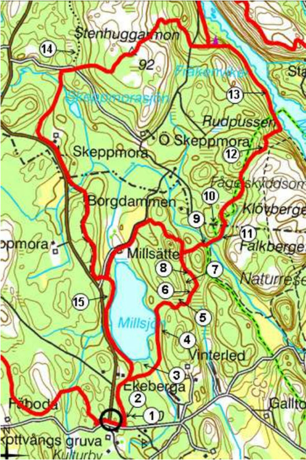 Karta över vandring vid Marvikarna.