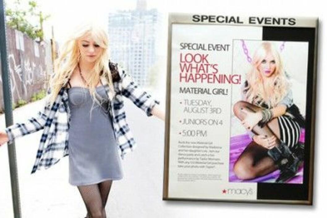 """Taylor Momsen är reklamansikte för Madonna och Lourdes kollektion """"Material Girl""""."""
