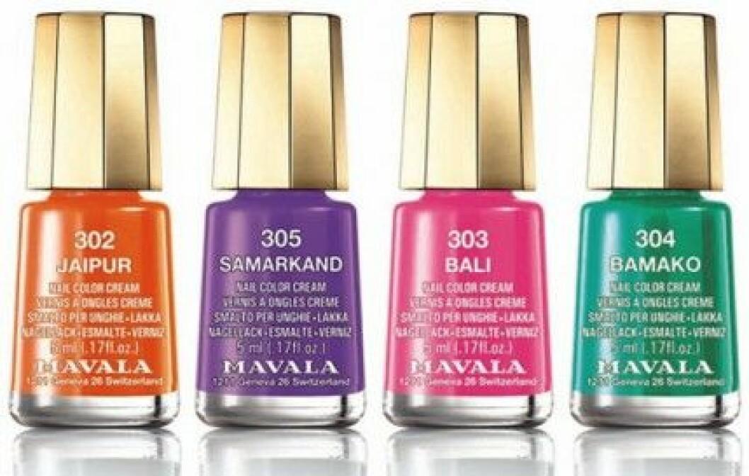 """Mavala """"Chili & Spice Colors"""" minilack. Pris: 45 kr/st."""