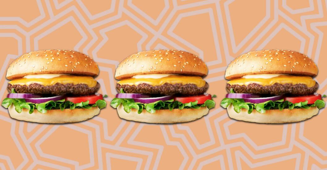 Tre hamburgare från Max