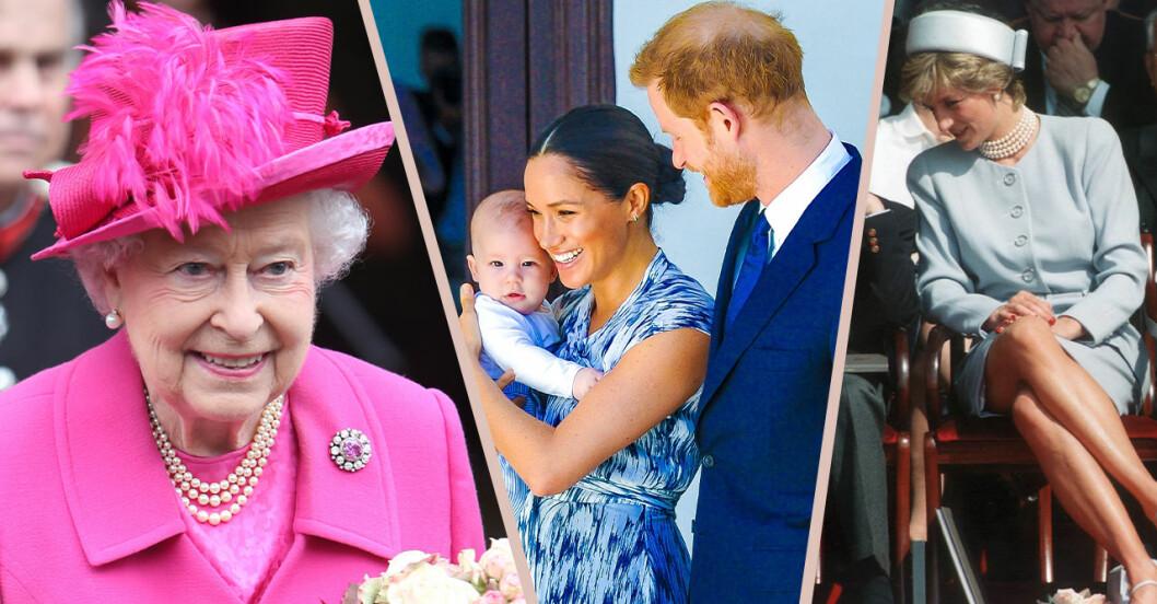 drottning elizabeth, harry archie, meghan markle och prinsessan diana.