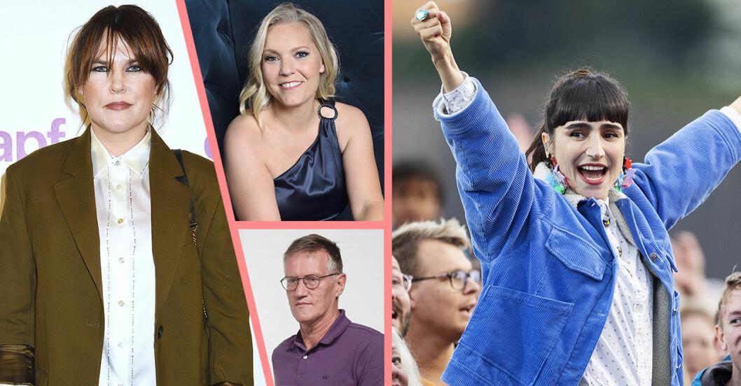 Mia Skäringer, Carina Bergfeldt, Agnes Tegnell och Laleh i kollage.