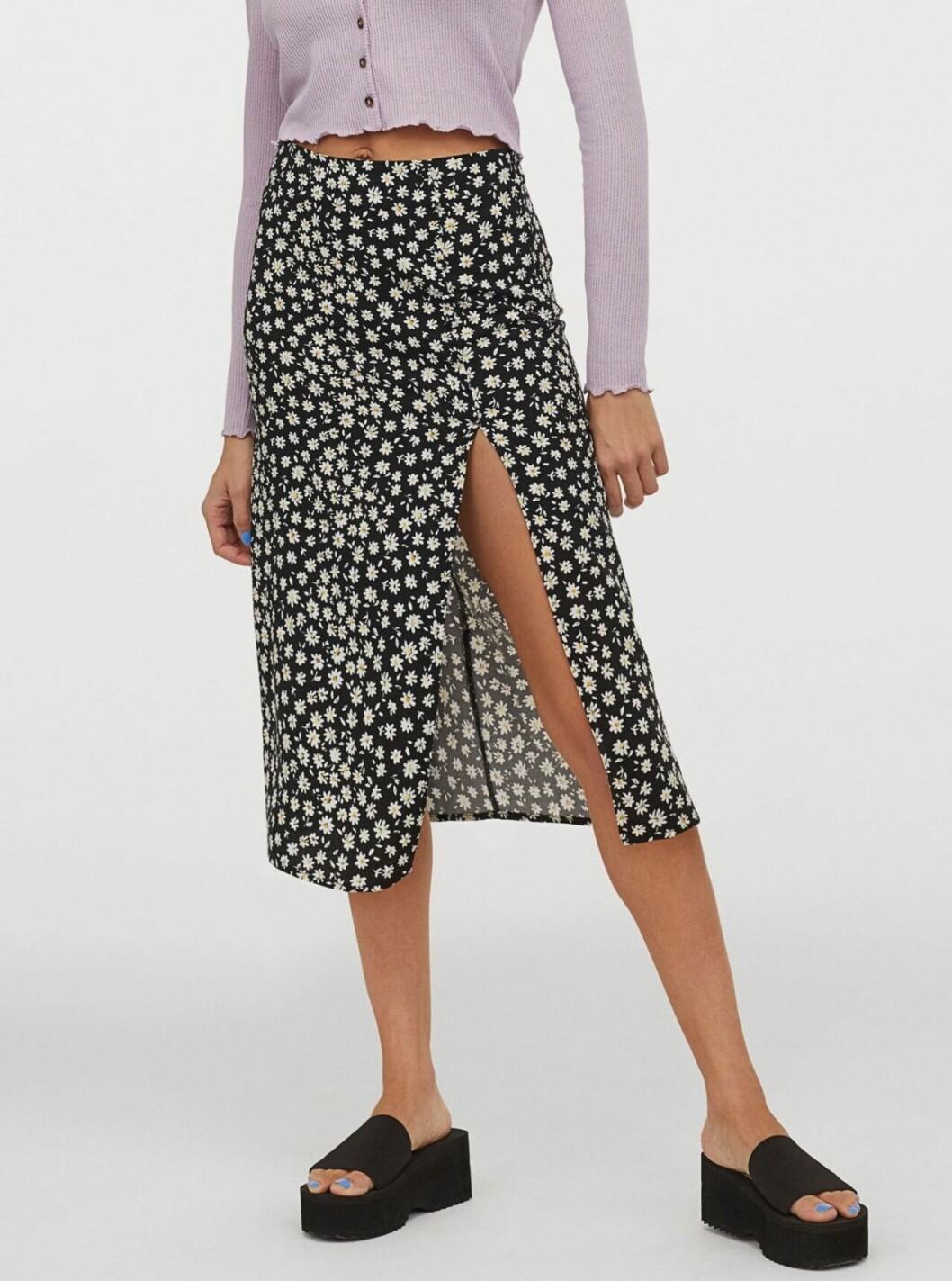 Mönstrad kjol med slits för dam till 2020