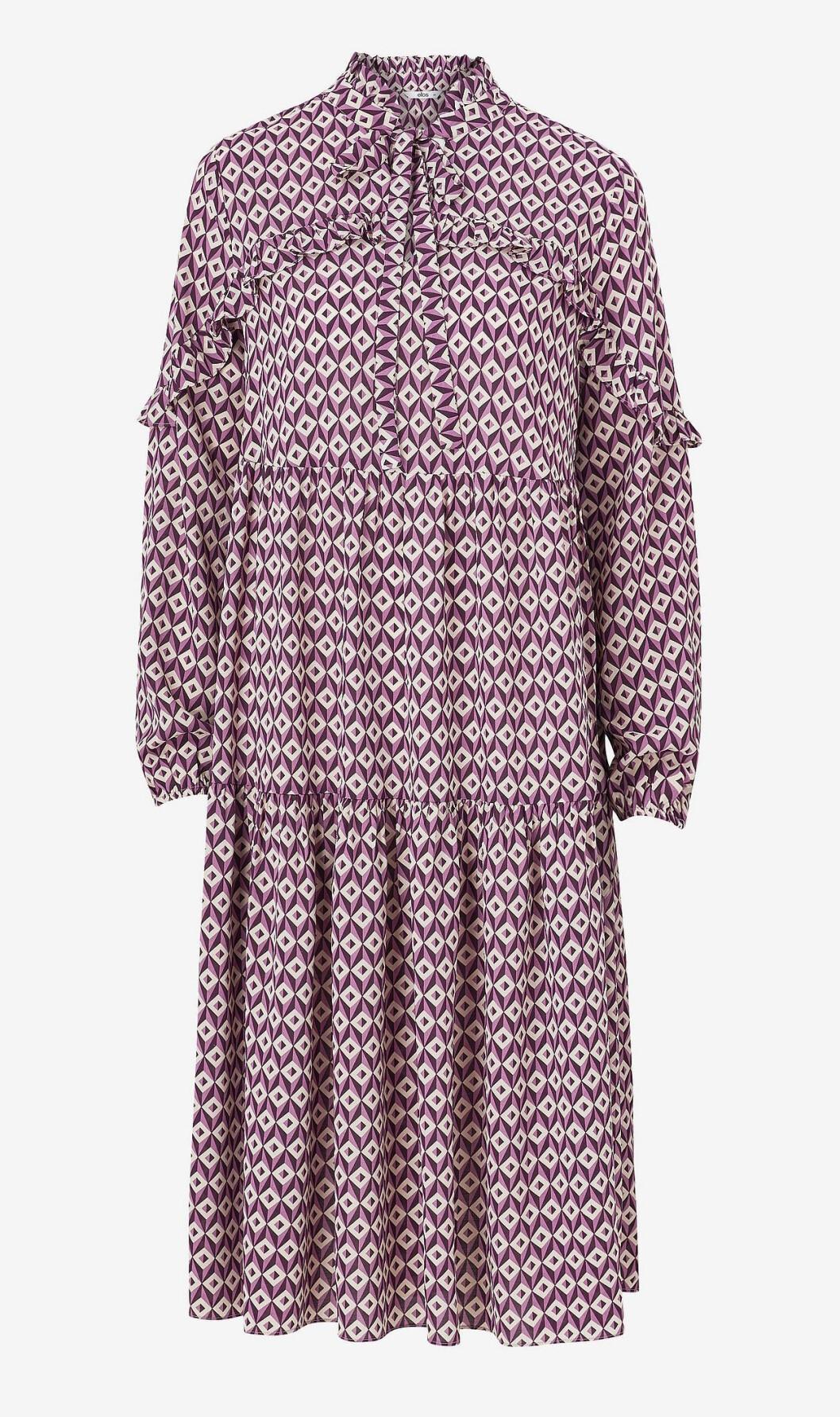 Mönstrad höstklänning med lång ärm för dam till 2019