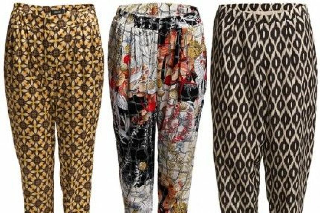 Mönstrade byxor från Turnover, Vila och The Wardrobe (Boozt.com).