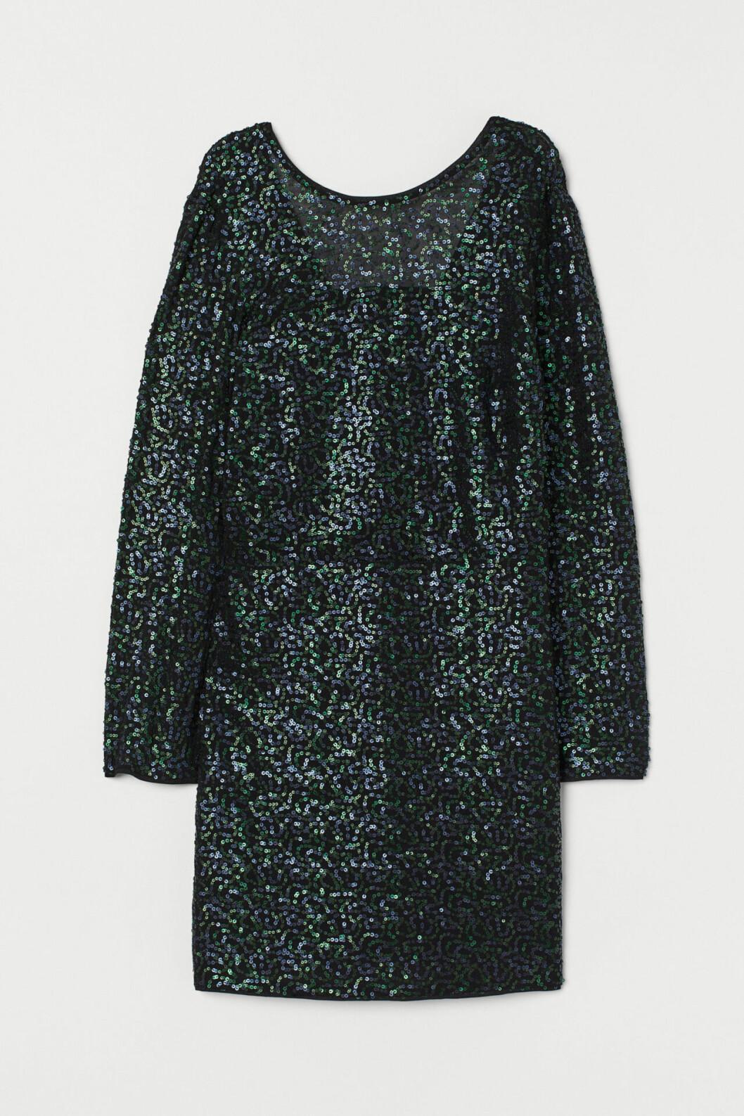 Grön paljettklänning med lång ärm för dam till nyår 2019