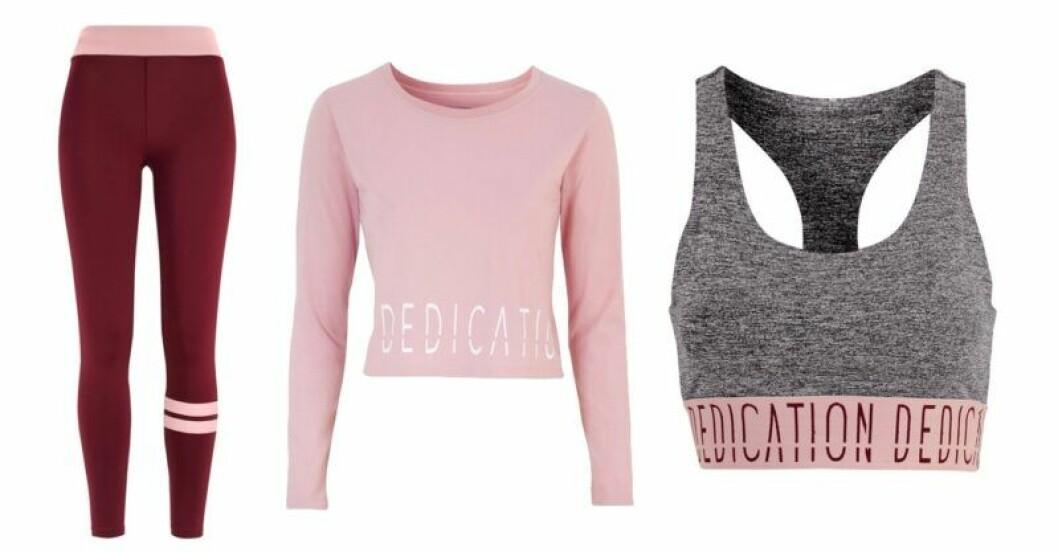 Mörkröda och rosa träningskläder