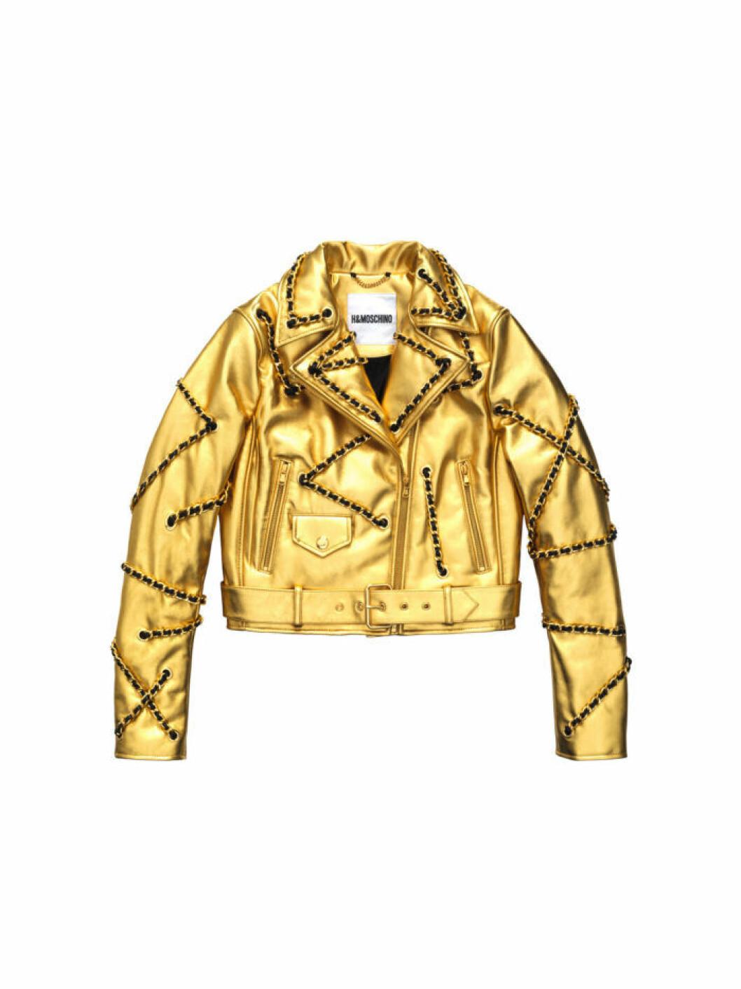 Guldig croppad skinnjacka med guldkedjor Moschino [tv] H&M