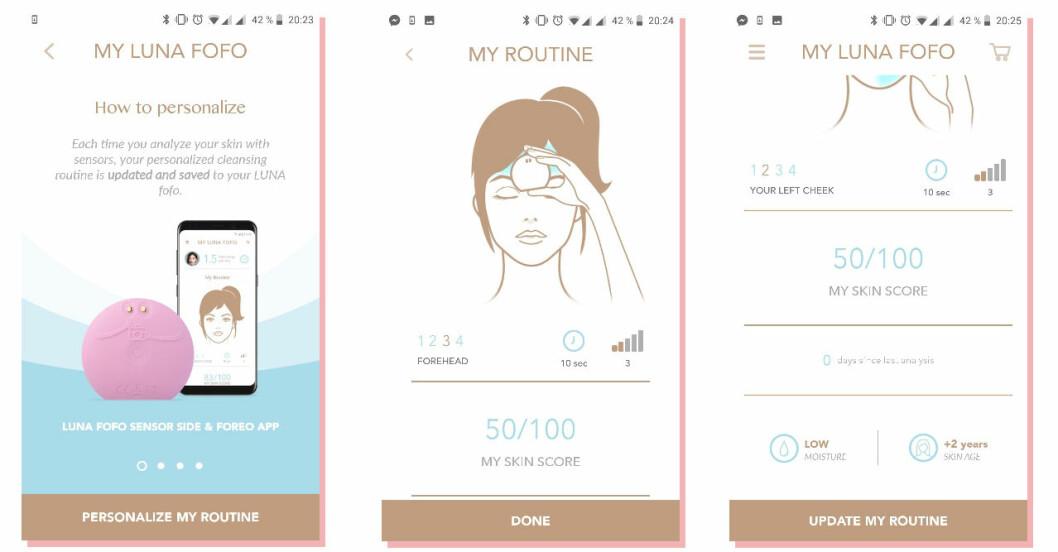 Foreos Luna fofo analyserar huden med hjälp av en app